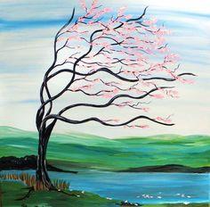 Romantic Original Painting Pink Tree Art by StacysArtStudio, $95.00