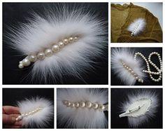 Fur brooch Pearl brooch