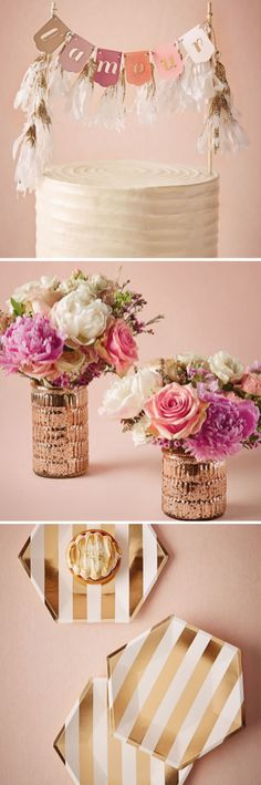 Gorgeous wedding decor - including cake toppers, vases, and serving items.