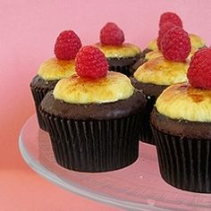 Crème Brulee Cupcakes ~ Crème brulee nested inside a chocolate cupcake.