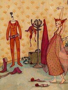 """""""Super-chouette girl"""", illustration originale à l'aquarelle : Peintures par anne-soline-sintes"""