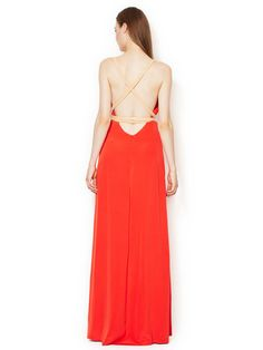 Silk V-Neck Leather Combo Gown by Bally