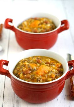 This sweet potato and wild rice soup is tasty, hearty, and healthy! Skip the oil.
