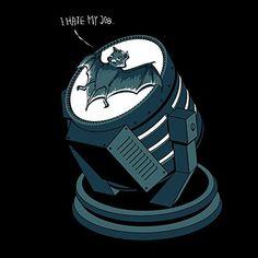 'I Hate My Job' Super Hero Comic Parody Bat on Spotlight 18x18 - Vinyl Print Poster Nightwing, Batwoman, Dc Comics, Humor Batman, Funny Batman, Superhero Humor, Batman Superhero, Batman Cartoon, Chistes