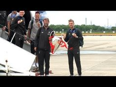 Champion League Champions Liverpool Arrive Back In UK With Trophy - YouTube