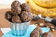 Chunky Monkey Energy Balls with Bananas 1 cup pitted dates 1 very ripe banana 1 teaspoon vanilla pinch salt ¾ cup uncooked oats (gluten free, if needed) 2 Tablespoons ground flax seed or flax meal 2 Tablespoons chia seeds ¼ cup chopped walnuts 2 oz, dark chocolate, broken into pieces (vegan, if needed)