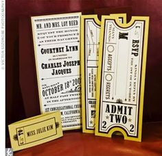 These movie ticket wedding invites and rsvp cards would be fit for a theatrical themed wedding.