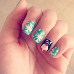 snowflake and penguin nails by @Style Space & Stuff Blog Jo