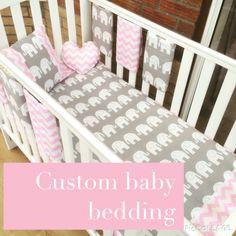 Elephant baby bedding custom made to order by IndiaRoseBaby