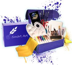 Smart Art provides artists with diverse high quality materials that inspire and nourish creativity. Each month subscribers receive a new box featuring a different artist that highlights their time period, 8-11 trial/full sized art supplies, a suggested project and a detailed pamphlet introducing a new art medium.