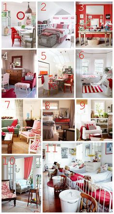 I could not decide which room I loved most. I love the splash of red!   http://theinspiredroom.net/2012/02/10/decorating-with-red/