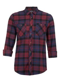 Burgundy Navy Tartan Long Sleeve Flannel ... With solid trousers (nice blue  jeans ba8f31800eb8