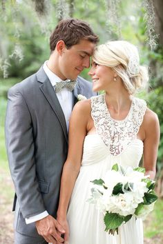 sweet couple - love the detailing of her gown! | Nancy Ray #wedding
