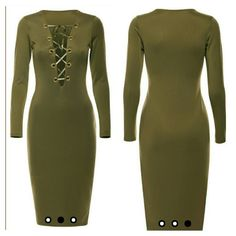 Olive lace tie up dress PRICE IS FIRM SECOND PHOTO SHOWS THE DRESS ON, JusT IN A DIFFERENT COLOR Size 12? Olive? Lace tie up front? 95% Polyester, 5% Elastane Dresses Midi