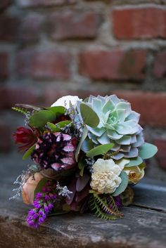 Um, this is stunning! Order the kit and learn how to DIY this bohemian bouquet yourself. #diy #flowers #bouquet #wedding #succulent #bohemian #desert Shop: Bloominous —> http://bloominous.com/products/bohemian-desert-bridal-bouquet Photo by: katelynannephotography.com