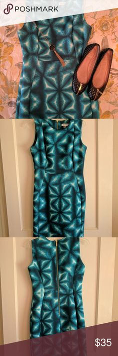 Calvin Klein teal scuba dress Fun CK scuba dress.  Great day to evening dress. Calvin Klein Dresses Midi