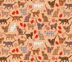 kittens and mittens fabric by catalinakim on Spoonflower - custom fabric