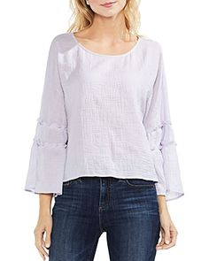 ca7ec525180961 Vince Camuto Women s Crinkle Cotton Pleated Sleeve Blouse - Wallflower - M