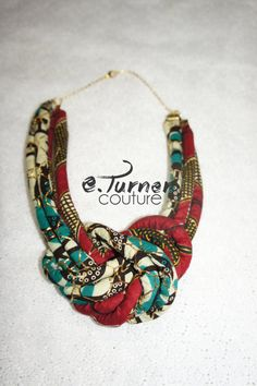 Red & Turquoise Ankara Necklace African Fabric by ETurnerCouture