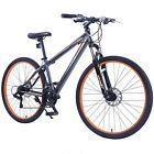 """27.5"""" Men's Mountain Bike Shimano Hybrid 21 Speed Bicycle Sports Grey & Orange"""