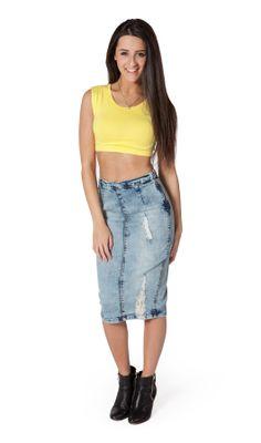 Mid-length Denim Skirt. Fashionable distressed denim midi skirt ...