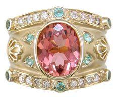 Salmon tourmaline, paraiba & diamond cigar band ring by Judy Mayfield on We Heart It