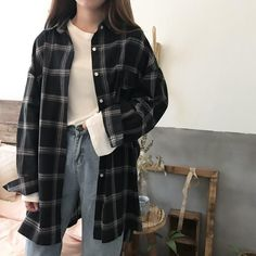 Buy Summer Oversized Tomboy Huge Plaid Light Shirt korean style Cheap Trendy Aes… Buy Summer Oversized Tomboy Huge Plaid Light Shirt korean style Cheap Trendy Aesthetic Clothes and G Vintage Outfits, Retro Outfits, Mode Outfits, Fashion Outfits, Female Outfits, Fashion Ideas, Fasion, Fashion Clothes, Girl Outfits