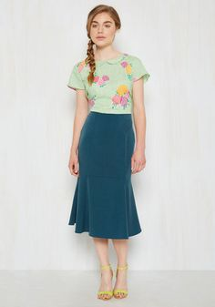 Though this flared pencil skirt is ever-so-versatile, it's anything but basic! You'll delight in finding new ways to style the dusty teal hue of this ModCloth exclusive, and your pals will take pleasure in witnessing your endless originality.