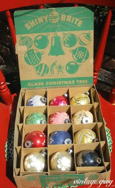 Vintage Christmas Ornaments ~ Box of Shiny Brite Glass Balls