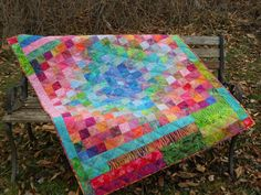 Baby Quilt beautiful and bright  Made by Hildi