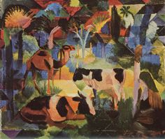 August Macke: Landscape with Cows and Camel, 1914