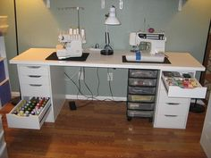 Serger Thread and Sewing Thread Storage by StitchedByMe, via Flickr (Ikea units and a hollow door!  great idea!)