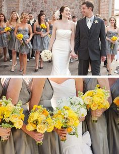 Gray/pewter/metallic gunmetal gray *still* in the running for bridesmaids dresses.  That or a color to match Sterling roses... OR a really intense, deep and dark shade of purple...