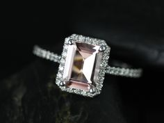 Rosados Box Lisette White Gold Rectangle Emerald Morganite and Diamonds Halo Engagement Ring