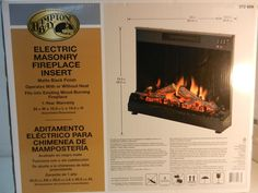 Hampton Bay Electric Masonry Fireplace Insert and Heater Model 372 609 #HamptonBay