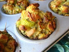 Individual Leek, apple and sausage bread puddings (Like stuffing for ham or turkey)