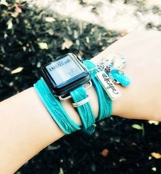 Turquoise tooled leather apple watch band with rose attachments, Iphone Gadgets, Apple Watch Accessories, Phone Accessories, Watches Photography, Silver Pocket Watch, Luxury Watches, Women's Watches, Wrist Watches, Beautiful Watches