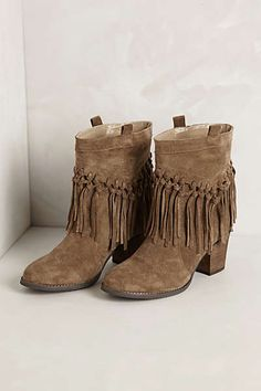 Anthropologie - Knotted Fringe Booties.