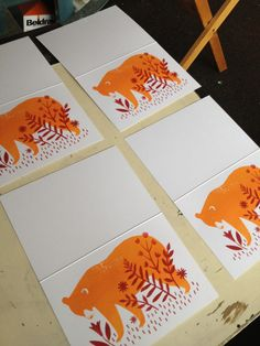 I've been busy screen printing some cards for the next volume of the Print Shop. Starts next Wednesday