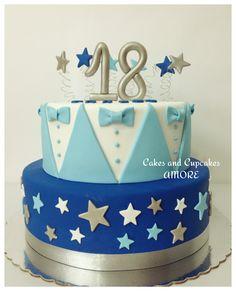 Torta 18 Años Birthday Cakes For Men, Cakes For Boys, Birthday Parties, Rodjendanske Torte, Happy 17th Birthday, Prince Cake, 18th Cake, Love Cake, Cupcake Cakes