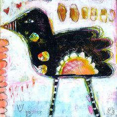 Strange Bird.  A mixed media piece by Dori Patrick.  www.doripatrick.com