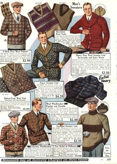 Late 1920s men's sweater are full of pattern and texture. Vintage 1928 mens sweaters cardigans ad Trend Fashion, 20s Fashion, Golf Fashion, Fashion History, Vintage Fashion, Victorian Fashion, Fashion Rings, Fashion Vest, Victorian Era