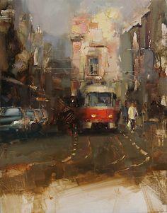 Tibor Nagy  ~ The Tram ~ Oil 17,7 x 13,7 @@@@..............http://www.pinterest.com/venussanat/watercolor-painting/