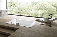 UNICO Baignoire encastrable by Rexa Design design Imago Design Autocad, Built In Bathtub, Sunken Bathtub, Wooden Decks, Italian Furniture, Wooden Flooring, Modern Bathroom, Contemporary Bathrooms, Modern Interior