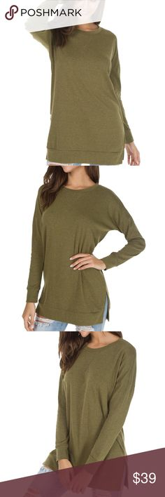 Long Sleeve Side Split Loose Casual Pullover Tunic Color: Army Green Material: 50% Cotton/45% Polyester/5% Spandex.Good Elasticity, Soft and Comfortable  Compare these product measurements to a similar garment you already own.  Take all measurements from the outside with the garment lying flat. EllaB Tops Tunics