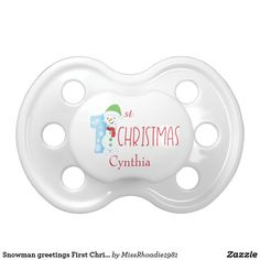 Snowman greetings First Christmas pacifier   #pacifier #baby #firstchristmas #Snowman #ad
