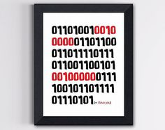 Binary Code Love Print - I Love You in Red and Black 8 X 10 - for your favorite nerd! :)  $15