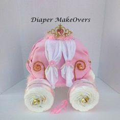 Gold Princess Carriage - Princess Diaper Cake - Unique Baby Girl Baby Shower - Cinderella Carriage - Baby Shower Centerpiece by DiaperMakeOvers on Etsy https://www.etsy.com/listing/269138433/gold-princess-carriage-princess-diaper