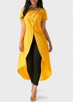 Adorewe unsigned round neck solid yellow high low blouse adorewe comStylish Tops For Girls, Trendy Tops, Trendy Fashion Tops, Trendy Tops For Women Classy Dress, Classy Outfits, Chic Outfits, Trendy Outfits, Fashion Outfits, Summer Outfits, Fashion Tips, Look Fashion, Trendy Fashion
