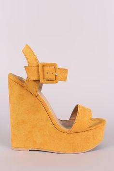 Suede Open Toe Buckled Ankle Strap Platform Wedge
